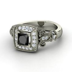 black and white diamond #ring love that it has a vintage look <3