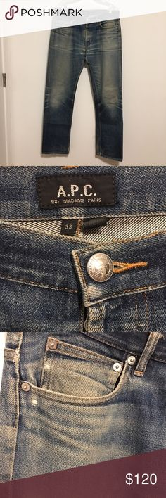 APC Jeans - 100% Japanese Denim - Petit Standard 100% Japanese raw denim. APC Petit Standard style. Well worn and taken care of. Never machine washed or dried. Always washed by hand and hung dry. 5 years vintaged. A few secured patches sewn internally by high end tailor. Great pair of worn distressed raw denim jeans! APC Jeans Straight