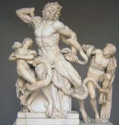Pictured above is Laocoon and His Sons. This image shows the Trojan priest Laocoon and his sons Antiphantes and Thymbraeus being strangled by sea serpents. Laocoon was a priest who incurred the wrath of the gods by attempting to dissaude the Trojans from letting in the infamous horse.