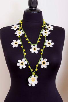 Beadwork necklace crochet beaded lariat necklace oya | Etsy