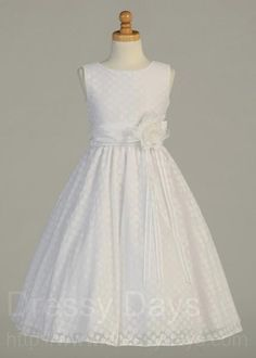 Plus Size First Communion Dress - Polka-Dot Pattern and Flower Accent : LCDPL113