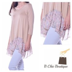 Tan Color Chiffon Print Hem Tunic Pastel tan colored tunic top with chiffon hem print. Super soft and lightweight with 3/4 sleeve. Made from viscose/ spandex blend Bchic Tops Tunics