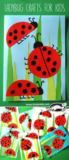 Adorable, colorful and easy spring craft for kids to make! These adorable lady bugs crawling through the grass are also great for working on scissor skills!