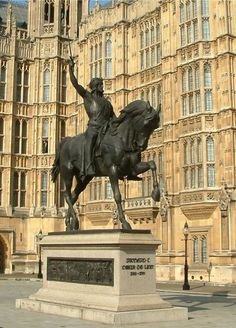 Statue of Richard the Lionheart, Palace of Westminster, London, UK - Richard I was a king of England, later known as the 'Lion Heart', and famous for his exploits in the Third Crusade, although during his 10-year reign he spent only six months in England. Richard was born on 8 September 1157 in Oxford, son of Henry II and Eleanor of Aquitaine.
