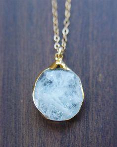 Pretty! Aquamarine pendant necklace OOAK 14k Gold by friedasophie