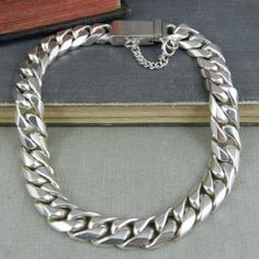 Taxco-Mexico-Sterling-Silver-Curb-Link-Bracelet-9-25-034