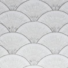 Fan club white ombre with stainless Art Deco Tiles, Art Deco Bathroom, Bathroom Ideas, Master Bathroom, White Ombre, Blue Ombre, Art Deco Design, Tile Design, Pattern Design