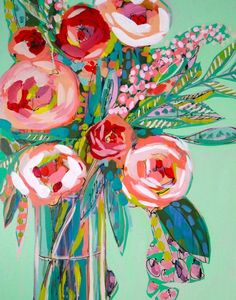 Mint and Pink Roses Abstract Floral Giclee Art Print, Made To Order, Impressionist Fine Art Print, Home Decor by Amanda Evanston - PaintinG Art Floral, Abstract Flowers, Abstract Art, Vase Of Flowers Painting, Flower Painting Abstract, Flower Artwork, Watercolor Art, Art Projects, Fine Art Prints