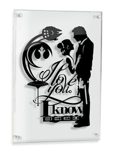 I Love You I Know - Han Solo and Princess Leia Star Wars silhouette handcut paper craft