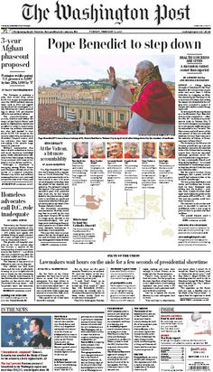 Headline 12th February 2013- Pope Benedict to resign 28th Februray 2013