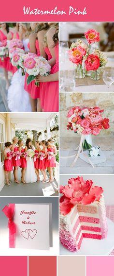gorgeous watermelon pink wedding ideas and wedding invitations