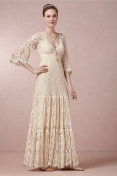 vestido de noiva retrô anos 70 rendado