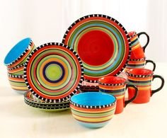 Pueblo Springs 16 piece dinnerware set is an excellent choice for a celebration party and for cheerful daily mealtimes.  This unique stoneware dinnerware has artisan quality and individuality being handpainted one piece at a time.  (91267.16) $57.95