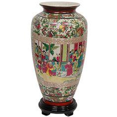 """Oriental Furniture 14"""" Rose Medallion Porcelain Tung Chi Vase"""