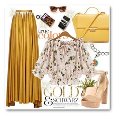 """jersey skirt in gold"" by ainzme ❤ liked on Polyvore featuring Zac Posen, Forever 21 and Stuart Weitzman"
