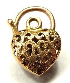 Vintage Gold Heart Shaped Padlock Bracelet Fastener Italian