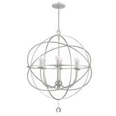6-Light handpainted wrought iron chandelier with a gyroscope motif.           Product: Chandelier   Construction Material...