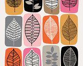Leaf Blocks Pink, giclee print Leaf Blocks open edition giclee print by EloiseRenouf on Etsy Bd Art, Leaf Drawing, Motif Floral, Leaf Art, Art Plastique, Zentangle, Printmaking, Giclee Print, Linocut Prints