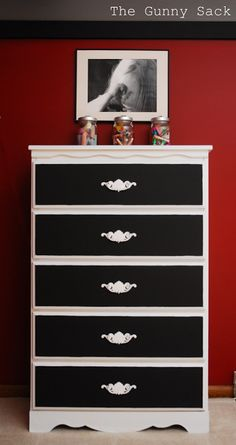 Dresser with chalkboard painted drawers