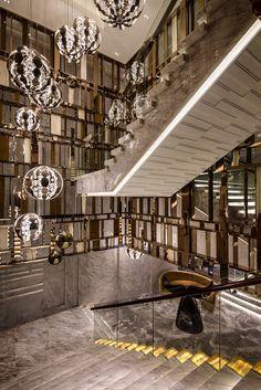 02lobby2 Stair Handrail, Staircase Railings, Modern Staircase, Grand Staircase, Staircase Design, Luxury Interior, Interior Architecture, Staircase Lighting Ideas, Stair Art