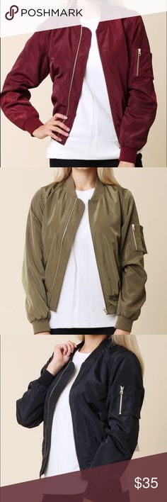 Bomber Solid Jacket Brand new available: black, olive green and burgundy S M L  bundle and save on shipping no lowballing Jackets & Coats