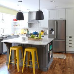 Before & After kitchen renovation with white & gray cabinets, open shelving, subway tile backsplash, quartz countertops, and layers of color. New Kitchen, Kitchen Decor, Kitchen Rustic, Kitchen Stools, Kitchen White, Kitchen Furniture, Bar Stools, Kitchen Ideas, Small L Shaped Kitchens