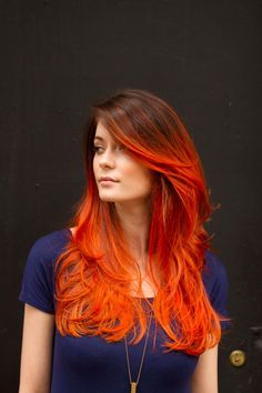 20 ideas for red ombre hair. List of red ombre hair colors. Red ombre hair color ideas for a bold new look. Orange Ombre Hair, Ombre Hair Color, Hair Colors, Orange Red, Yellow Hair, Blood Orange, Burnt Orange Hair Color, Brown To Red Ombre, Orange Crush