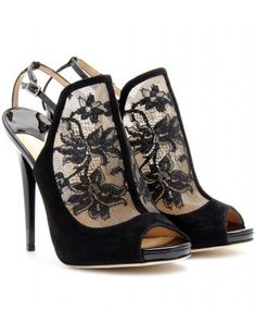 MAYLEN LACE AND SUEDE STILETTO PUMPS