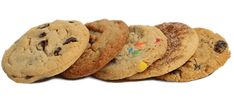 Indulge in up to 10 different cookie flavors. Customize your order with favorites like Chocolate Chip, Oatmeal Raisin, Snickerdoodle and Peanut Butter. Cookie Flavors, Kinds Of Cookies, Like Chocolate, Raisin, Peanut Butter, Oatmeal, Chips, Menu, Data Protection