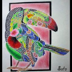 Green Tucano #milliemarotta #milliemarottabooks #milliemarottafans #tropicalwonderland #paraisotropical #tucano #toucan #adultcoloring…