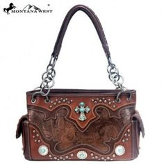 Montana West Western Cross & Concho Studded Handbag Purse Chain Detail Handles #MontanaWest #ConcealedWeapon