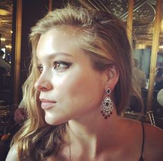 Sophie Cookson wearing Gemfields Mozambican Rubies