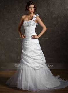 .............Wedding Dresses - $206.99 - A-Line/Princess One-Shoulder Court Train Taffeta Organza Wedding Dress With Ruffle Beading Flower(s) Sequins (002011513) http://jjshouse.com/A-Line-Princess-One-Shoulder-Court-Train-Taffeta-Organza-Wedding-Dress-With-Ruffle-Beading-Flower-S-Sequins-002011513-g11513?ver=n1ug2t&ves=vnlx6
