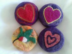 Valentine felted soaps