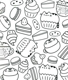 Cute Pusheen Coloring Pages online for kids printable. Who doesn't know Pusheen? This cat animated figure becomes a pretty lucrative business icon. Animated figures who sell cupcakes and lollipops were ind. Pusheen Coloring Pages, Cupcake Coloring Pages, Batman Coloring Pages, Food Coloring Pages, Free Coloring Sheets, Cat Coloring Page, Disney Coloring Pages, Coloring Pages To Print, Printable Coloring Pages