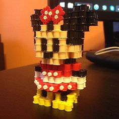 3D Minnie Mouse perler beads (original design by voxelperlers) by justbeadit21