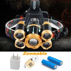 CREE 5*LED XML T6 Headlight 15000Lumen Zoomable Headlamp USB Rechargeab Head Lamp Fishing Light Outdoor Lighting+Battery+Charger