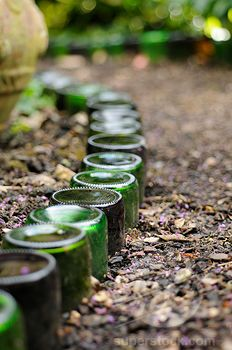bury bottles neck-down as garden edging