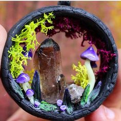 This glow in the dark magic portal with smokey quartz crystal is still available at my etsy shop and New portal designs are coming soon❤️✨ . . . . . #magic #portal #mushrooms #shrooms #psychedelic #art #miniature #sculpture #oneofakind #moss #glow #glowinthedark #polymerclay #polymerclayart #jewellery #mushroomjewelry #wearableart #hippie #newage #spiritual #spiritscience #nature #channelled_creations #portalpendant #crystals #quartz