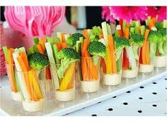 Instead of the traditional veggie tray! One of my favorite ideas for a baby or wedding shower. This appetizer was easy to eat and participate in party activities at the same time. They were a hit at the last shower I attended. Snacks Für Party, Appetizers For Party, Appetizer Recipes, Appetizer Ideas, Birthday Appetizers, Snacks Kids, Bbq Party, Healthy Appetizers, Yummy Snacks