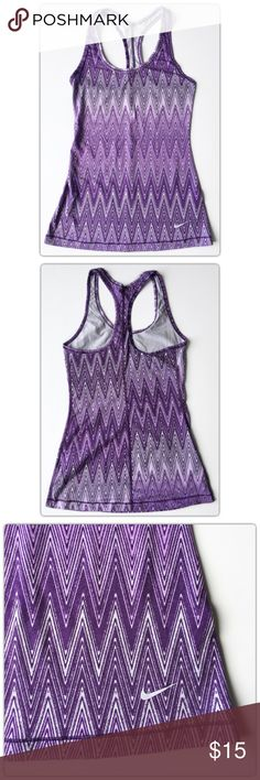 NIKE Dri-Fit Purple Chevron Print Racerback Tank NIKE  Dri-Fit  Purple Chevron Print Racerback Tank Size XS  Excellent Pre-owned condition. MAKE ME AN OFFER!  Nike Tops Tank Tops