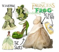 """The princess and the frog"" by mitomana ❤ liked on Polyvore featuring Nina, Vera Wang, Disney, Calla, bridal, wedding, tiana, wedding dress, bouquet and disney"