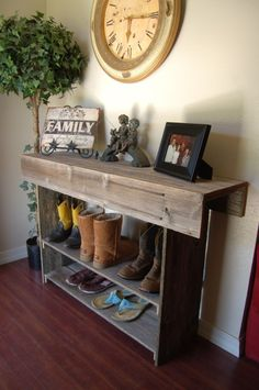 furniture wondrous narrow rustic entry table from reclaimed wood materials with 2 tier shoe rack and drop leaf console above cherry laminate flooring also vintage round wall clock
