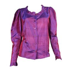 1970's Yves Saint Laurent Silk Blouse with Ruffle Detail