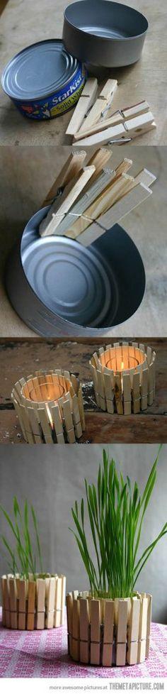 Porta-velas ou cachepot, prático de fazer, simples e gostoso de usar.
