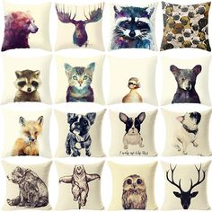 New 2016 Fashion Cute Wild Animal Linen Pillow Cover Square 18 Inch Pillow case #Affiliate