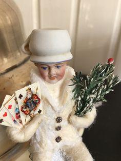Wattefigur mit Porzellankopf auf Kerzenklemme für Federbaum, JDL, Shabby,Vintage | eBay