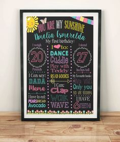 You are my sunshine birthday ideas,theme/chalkboard/sunflower theme/sunshine theme/themed/board/printed/themed/you are my sunshine party Sunshine Birthday Cakes, Baby Birthday, First Birthday Parties, Birthday Party Themes, Birthday Invitations, First Birthdays, Birthday Ideas, Sunflower Party, Birthday Chalkboard