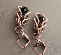 Dangle chainmaille copper earrings with framed black by IngoDesign, $25.00