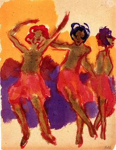 Three Dancing Girls Emil Nolde